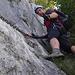 Soddisfazione personale dopo il primo tratto, tutto di goduriosa arrampicata