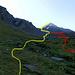 Un' idea del percorso, in giallo la salita, in rosso la discesa, dove cercavamo di stare il più possibile su prato