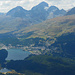 der mächtige Piz Güglia thront über St. Moritz; oberhalb St. Moritz liegt das Skigebiet Corviglia-Marguns-Piz Nair
