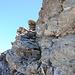 Kurzes seilgesichertes Kletterintermezzo unter dem Gipfel des Spielmann.
