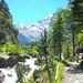 Hübscher Wanderweg zum Berghotel Waldhaus. Das Gasterntal zeigt sich endlich...