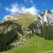 Blick von der Gamplüt-Bergstation auf unseren Abstiegsweg