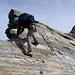 Plattig am Nordgrat kurz vor der Abstiegsrinne nach Westen
