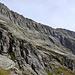 Rückblick in die Sass d'Argent Westwand, unser Umkehrpunkt etwa beim Gipfelpunkt