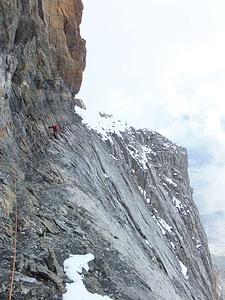 Bänderweg, Beginn des zweiten Kessels. Dies ist die einzige Stelle, an der wir im Abstieg gesichert hatten.