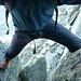 Abstieg von der Felsenlücke ca. 5 bis 6 Meter senkrecht nach unten. Hier gab´s noch gute Griffe und Tritte.