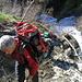 Passaggio delicato su slavina...sotto passa il torrente.