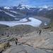 Abstieg von Pt. 3341 gegen den leuchtenden Gornergletscher