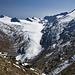 Blick von der Hütte aus auf den Gurgler Ferner mit der Hohen Wilden (3482m ,l.) und dem Schalfkogel (3537m,r.)