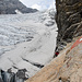 Blick zurück auf den Gletscher über den die Route führt.