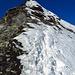 die letzten Meter zum Gipfel, vereist und rutschig.