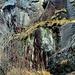 """<br />Roter Pfeil: ↔︎<br /><br />Die Überreste einer Natursteinmauer, <br />die quer zum Felsen aufgezogen wurde.<br />Um den Zugang von Süden her (von rechts) zu sichern oder zu versperren?)<br /><br />Diese Mauer (quer zum Felsen, also im 90° Winkel) ist mit <br />den Überresten einer zweiten kurzen Mauer verbunden, <br />die parallel zum Felsen und in Richtung Heidenhaus angelegt ist. <br /><br />Ich vermute, dass diese 90°Mauerecke bis zum überhängenden Felsen hinauf reichte. <br />Könnte also ein Gebäudetrakt gewesen sein.<br /> <br />Wie ich darauf komme? <br />Weil ich beim """"Heidenhaus von Malvaglia"""" etwas Ähnliches gesehen habe (aber nur von Ferne).<br /><br />_____________________________________________<br /><br />Gelbe Pfeile:<br /><br />Der Zugang von Süden. <br />Dieser Zugang wurde durch eine Absperrmauer (rote Pfeile) entweder gesichert oder verunmöglicht.<br />_____________________________________________<br /><br />Dunkelblauer Pfeil:<br /><br />Heidenhaus<br />_____________________________________________<br /><br />Weisser Pfeil:<br /><br />Die Strecke vom Heidenhaus bis zur Absperrung (und Vorratskammer? Gebäudetrakt?). <br />Bei dieser Strecke handelt es sich um eine relativ bequem begehbare Felsenrampe.<br />_____________________________________________<br />________________________<br />____________<br />____<br />"""