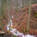 Vorne schneegefüllte Runse, hinten eisgepanzerter Wanderweg