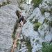 Ich am Klettern irgendwo am Monte Cucco, eine einfache Route.