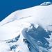 la cima Est osservata durante la discesa,con la via di salita sul filo di cresta