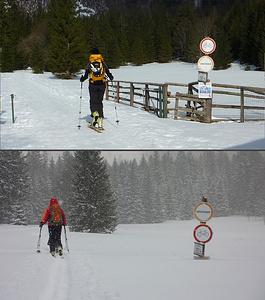 Beim Bodenbauer, oben 2014, unten 2012, etwa 80cm Unterschied in der Schneebedeckung im selben Monat