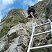 die erste Kletterpassage mit Leiterhilfe