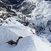 """Tiefblick vom Gipfel zum Skigebiet """"Schlick 2000"""""""