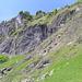 Aufstieg Steinbockhütte: Vor den senkrechten Felsen gehts im Bild nach rechts oben