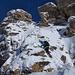 Abstieg von unserem Gipfel links im Bild, rechts der eine Gipfelturm