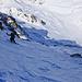 Im oberen Teil der Flanke. Mehr als 1000HM bis zum Talboden des Val d'Err.