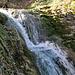 während das Wasser als kleiner Wasserfall das Tobel hinunter läuft