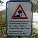 Warnschild vor der Skyguide Radaranlage