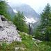 Alpweg nach Aüt - Blick zurück gegen den Talkessel des Val Fouda (Cascine d'Afata)