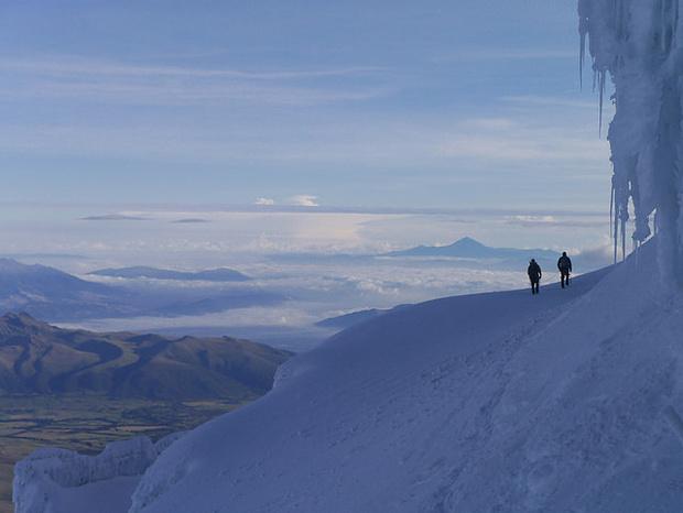 Auf dem Cotopaxi, hoch über dem Hochland von Equador.