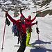 Geschafft!!! In Bildmitte ca. 2100m höher die Einfahrt rechts der Dufourspitze.