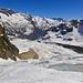 Der Belvedere Gletscher breitet sich vor uns aus.