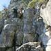 die erste Kletterstelle im Abstieg (I-II)