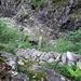 Blick von oben auf den Aufstiegsweg