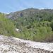Guado del primo fiume nella Val di Laor (su nevaio residuo). In rosso la posizione di Antrona