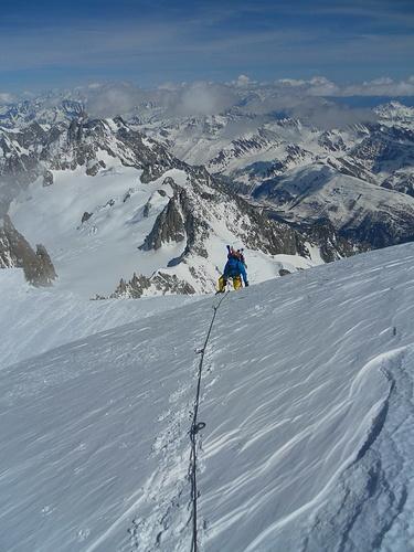 Rückblick vom N-Hang des Mont Blanc