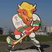 In Мiнск / Minsk - Ein Wisent ist das Maskottchen der Eishockey-WM 2014 und derzeit überall in Minsk präsent.
