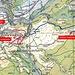 Das neue Streckenabschnitt des Tulpenweg (blau), und der schon einige Jahre existierende Tulpenring um den Chalberweid bei Grengiols.