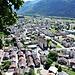 die wunderbare Aussicht auf Gampel-Bratsch (mit der Kirche) und Steg-Hohtenn (änet der Lonza)