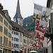 die Flaggen von Graubünden, Chur und der Schwiiz