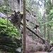 Sandstein-Formationen im Isergebirge am Jedlová-Bach