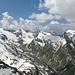 Von links Rheinwaldhorn, Grauhorn, Piz Jut, Cima di Fornee, Pizzo di Cassimoi