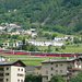 Zug Nr. 1 der 6 beobachteten Züge zeigt sich oberhalb Brusio: Bernina Express St. Moritz - Tirano