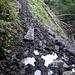 Der schlammige Abstieg im Schräwald