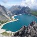 Eindrücklicher Blick auf den Lünersee von den Kanzelköpfen, ein komplett einsamer Gipfel weit über den Touristenströmen