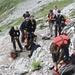 Oberhalb des Talkessels Höllentalanger beginnt der erste Klettersteig über das Brett hinauf zum Grünen Buckel.