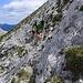 Aufstieg über kleinsplittriges, bröseliges Gestein in den Sattel zum Großen Griesstein
