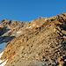 Blick vom Col de Lire Rose über den Aufstieg in Richtung La Ruinette. Man folgt immer dem Grat