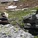 Foto vom ersten Besteigungsversuch am 27./28.7.2013: <br /><br />Die Route vom Bergwanderweg zu den Seen unterhalb der Arêtes de Lire Rose markierte ich mit zahlreichen Steinmännchen da ich mir für den Aufstieg ja genügend Zeit hatte.