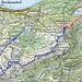 Routenverlauf:<br />- gemütlicher Freitag (rot)<br />- happiger Samstag (blau)<br /><br />Quelle: Swiss Map online