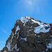 Klettern am Gipfelgrat - ich und mein Kletterpartner direkt am kleinen Gipfelfirnfeld
